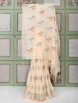 Cream color linen festive saree