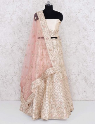 Cream color lovely silk semi stitched lehenga choli