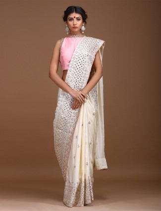 Cream color pretty saree in pure silk fabric
