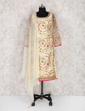 Cream color punjabi wedding wear net salwar suit