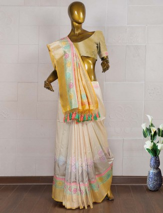 Cream color pure banarasi wedding saree