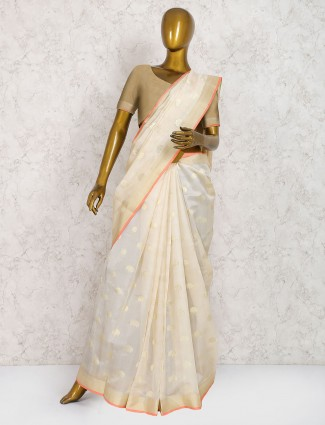 Cream color pure silk wedding wear saree