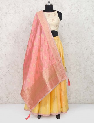 Cream color raw silk festive lehenga choli