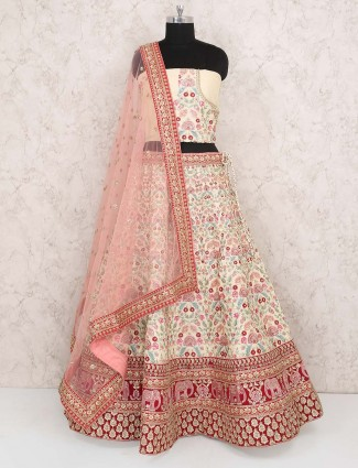 Cream color raw silk semi stitched lehenga choli