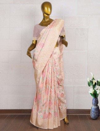 Cream color saree in pure banarasi