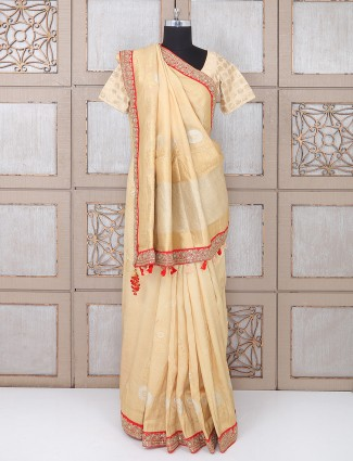 Cream color silk festive saree