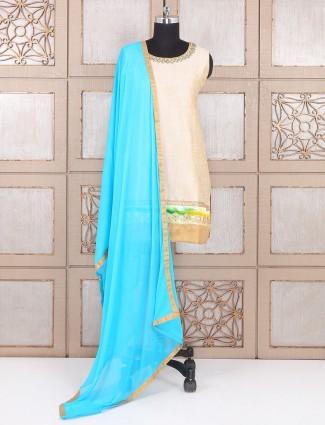 Cream color silk party wear punjabi suit