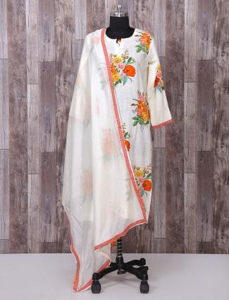 Cream color silk printed festive wear palazzo suit
