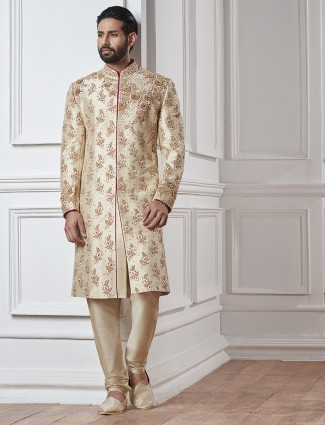 Cream color silk sherwani