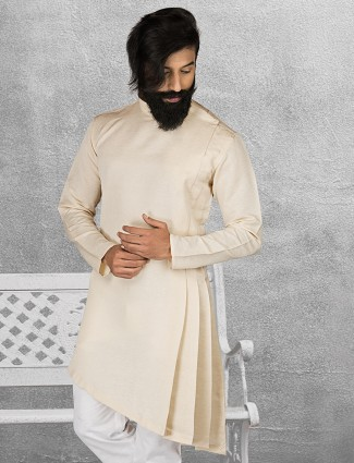 Cream color terry rayon solid short pathani