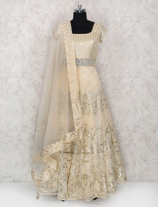 Cream color tissue silk floor length anarkali suit