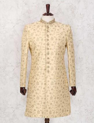 Cream color wedding wear jamawar
