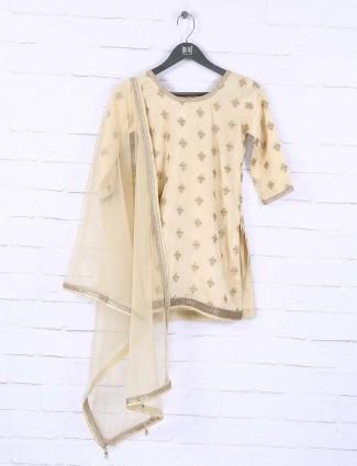 Cream colored cotton silk fabric designer sharara suit