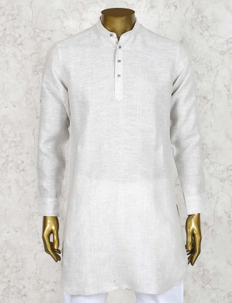 Cream colored linen cotton solid short pathani