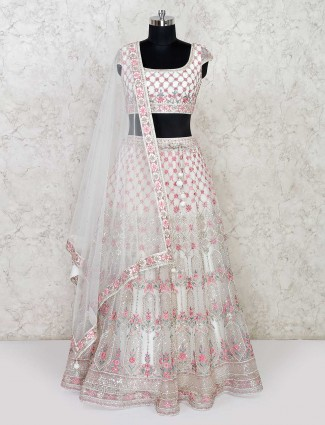 Cream colored net lehenga choli