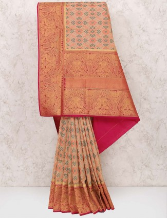 Cream colored semi silk fabric saree