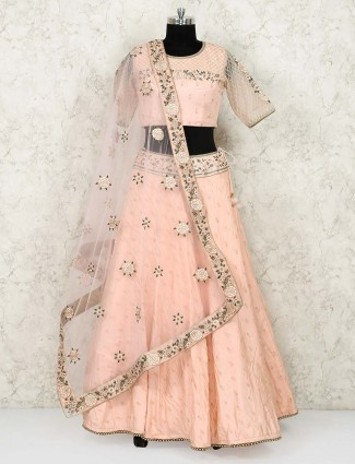 Cream colored silk lehenga choli