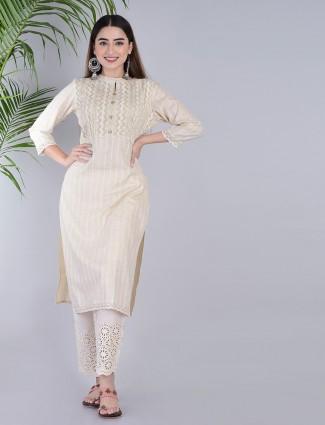 Cream cotton casual wear pant set