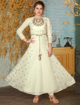 Cream cotton festive floor length anarkali suit