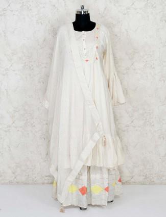 Cream cotton festive lehenga suit  for festive wear