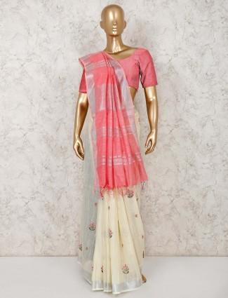 Cream linen cotton festive occasion saree