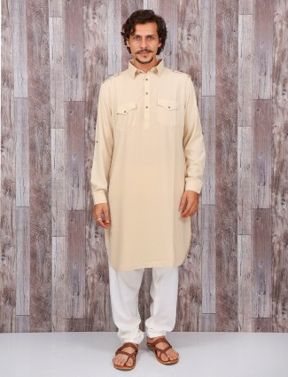 Cream cotton festive pathani suit