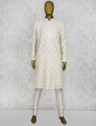 Cream cotton full sleeves kurta suit