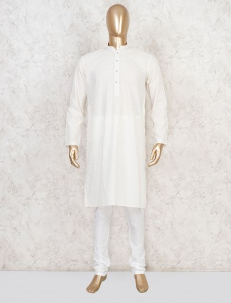 Cream cotton lakhnavi work kurta suit