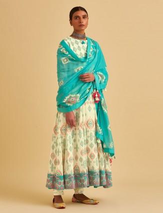 Cream cotton printed anarkali suit with churidar
