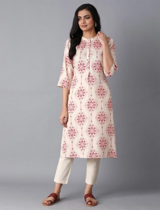 W Cream cotton printed casual get togther kurti