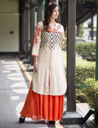 Cream cotton printed kurti