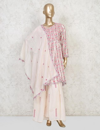 Cream cotton printed sharara suit special for parties