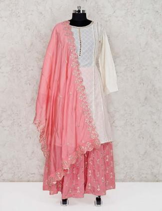 Cream cotton punjabi lehenga suit