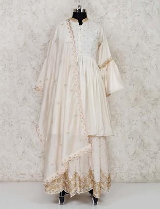 Cream cotton punjabi lehenga suit for festive