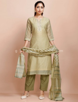 Cream cotton punjabi printed pant suit in festive