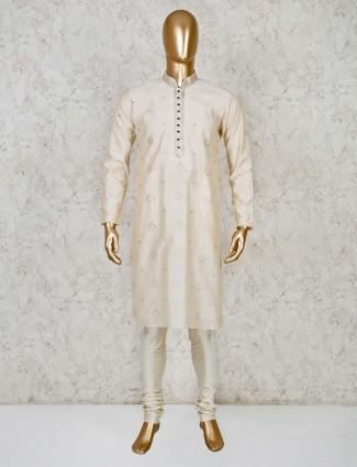 Cream cotton silk festive occasion kurta suit
