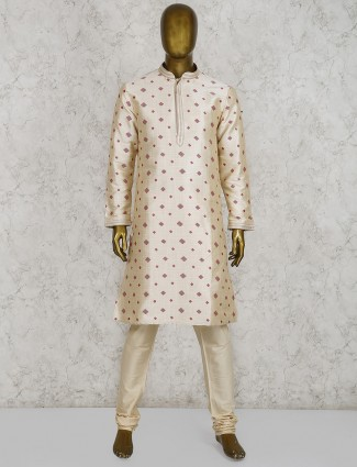 Cream cotton silk half buttoned kurta suit