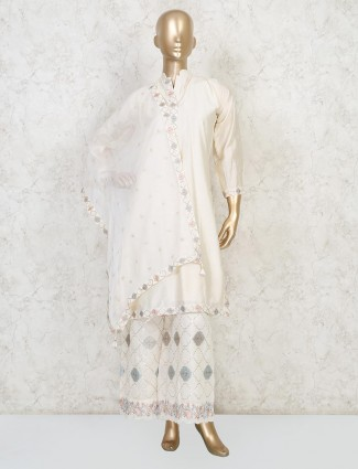 Cream cotton silk stand neck punjabi palazzo suit
