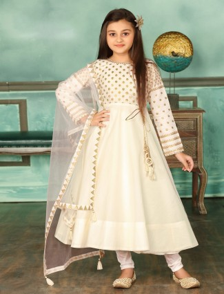 Cream cotton silk wedding anarkali suit