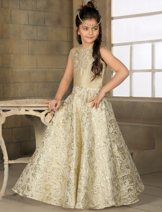 Cream designer party wear gown
