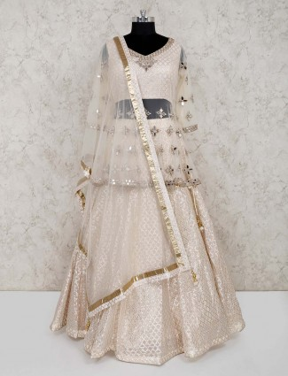 Cream designer silk wedding wear lehenga choli