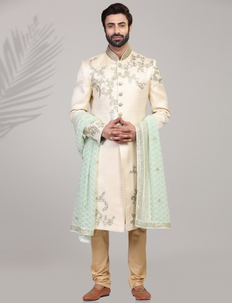 Cream designer wedding wear sherwani
