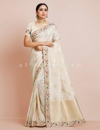 Cream dola silk designer saree for pretty womens