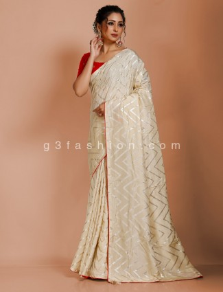 Cream dola silk leheriya saree