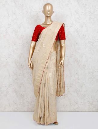 Cream dola silk saree for wedding functions