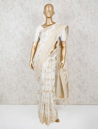 Cream dola silk wedding saree