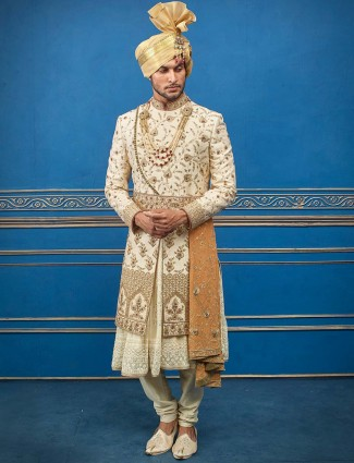 Cream double layer raw silk sherwani with churidar