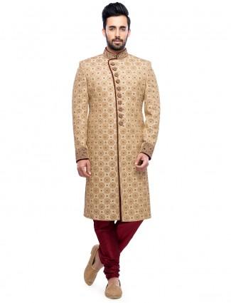 Cream dressy silk wedding wear sherwani