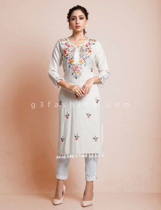 Cream embroidered cotton kurti