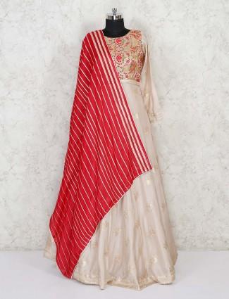 Cream festival anarkali salwar suit in cotton silk